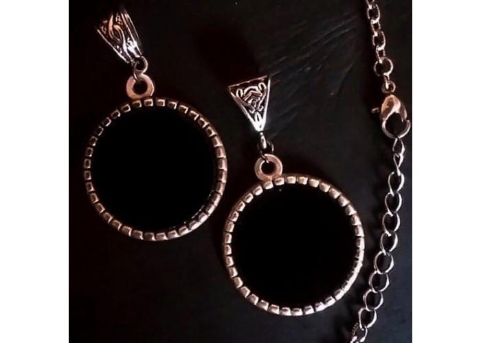 Черная Гладь №1 кулон с черным зеркалом серебро