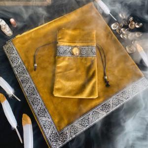 Комплект Золотой алтарная скатерть и мешочек для карт Таро