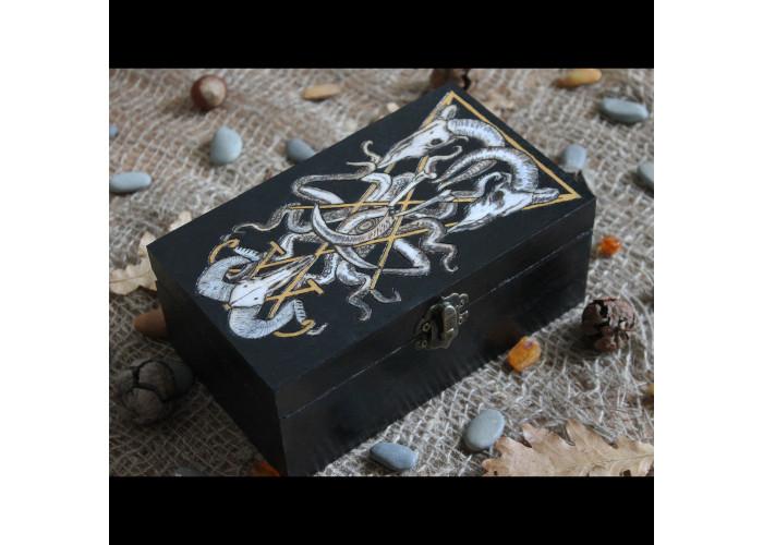Стилизованый Сигил Люцифера шкатулка для карт Таро