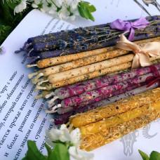 Тонкие свечи цветочные восковые 40 штук, 4 вида