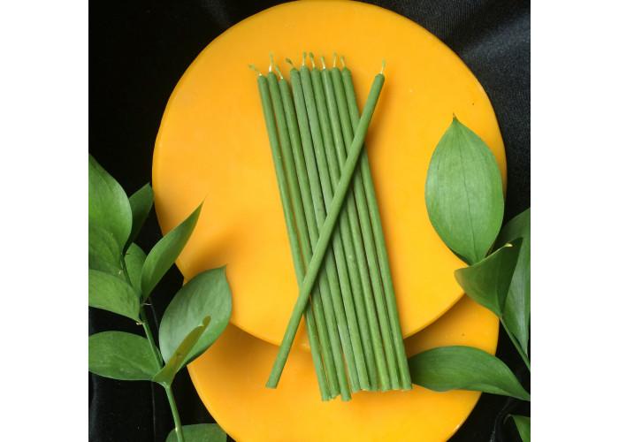 Зеленые тонкие свечи восковые