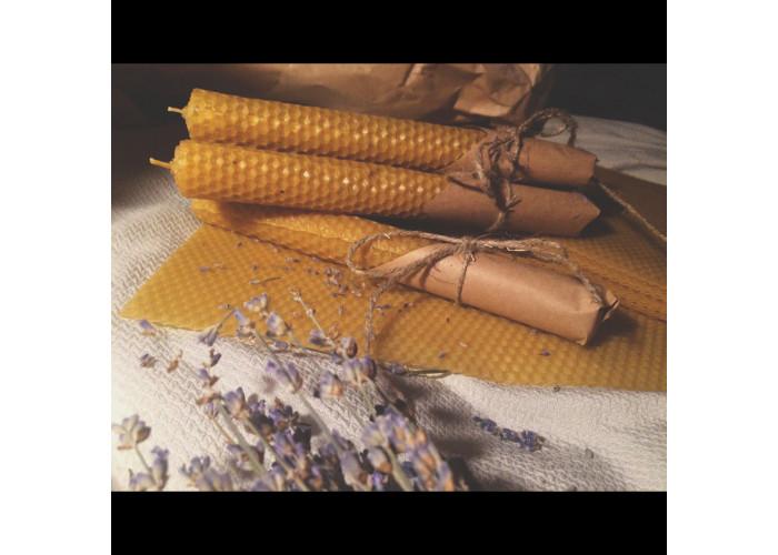 Свечи из вощины медовые с Лавандой
