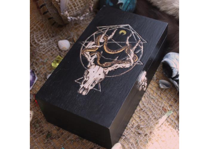 Череп оленя шкатулка для карт Таро, Рун