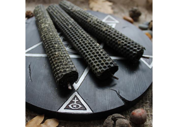 Тройная Полынь свеча черная из вощины