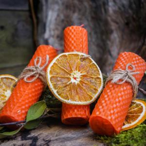 Апельсиновый Огонь свеча из вощины
