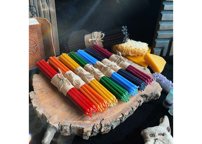 Радуга. Чакры и Очищение набор тонких восковых свечей